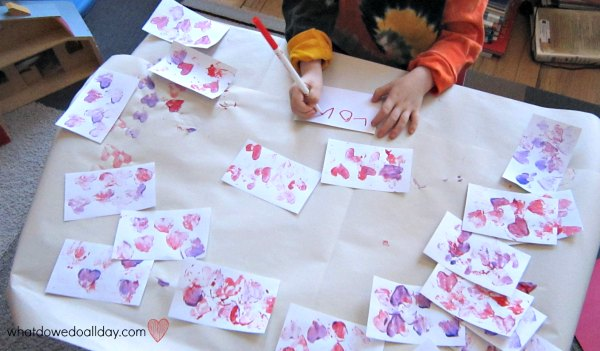Signing valentine cards for school