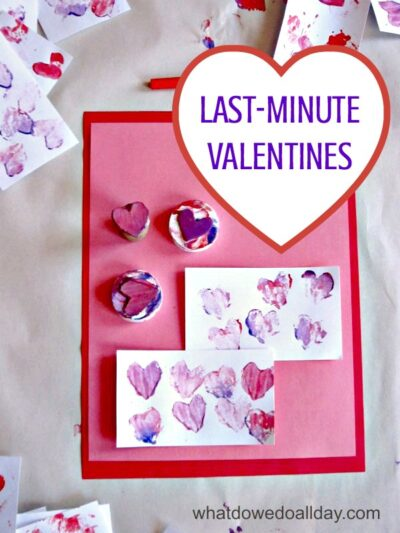 Last-minute stamped heart valentines for kids to make. Easy-peasy way to make bulk cards