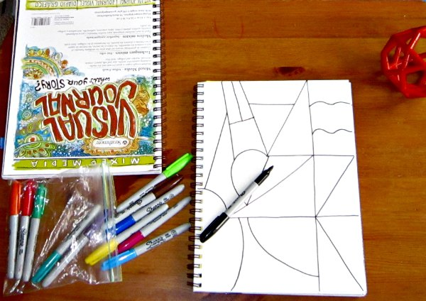 Zentangle with kids - start with a blank page of lines
