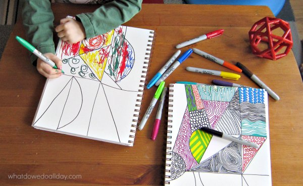 Making spirals in a Zentangle with kids