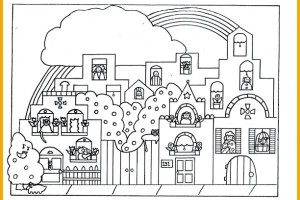 Rainbow coloring page by children's book illustrator Melanie Hope Greenberg.