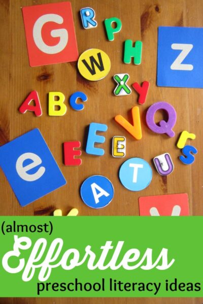 Preschool literacy ideas for parents that take very little preparation. Easy to do at home!