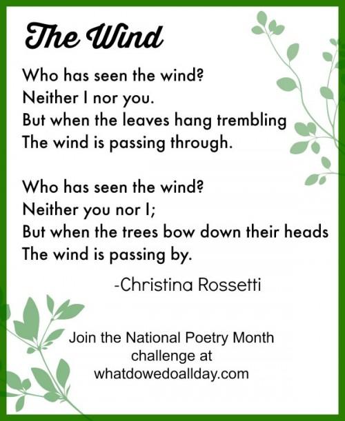 The Wind by Christina Rossetti to read with kids.