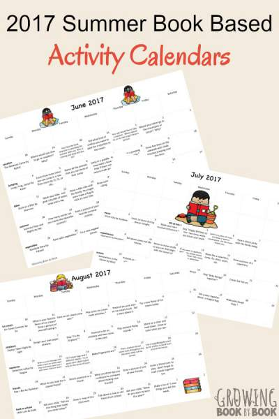 summer book based activity calendars