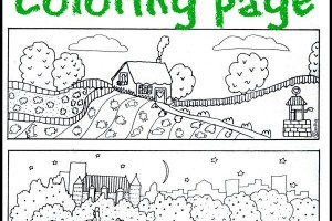 Free printable city and country coloring page.