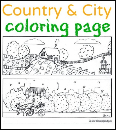 City And Country Coloring Page