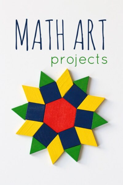 Math art project idea for kids. Over a dozen ideas to inspire creativity.