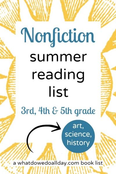 Nonfiction books for summer reading lists. Good for 3rd, 4th and 5th graders.