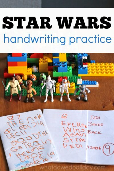 Handwriting practice for kids who love Star Wars
