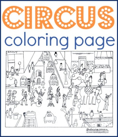 Circus coloring page for kids. Free, printable.