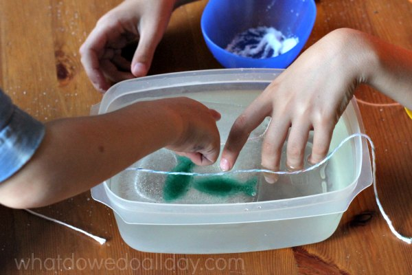 Ice cube salt and string experiment with kids.