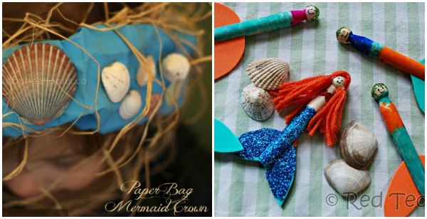 Mermaid crown and mermaid clothespin dolls