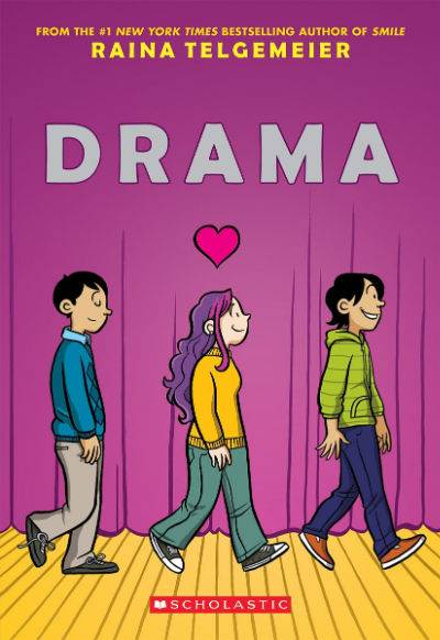 drama by raina telgemeier book cover with two boys and a girl walking on stage
