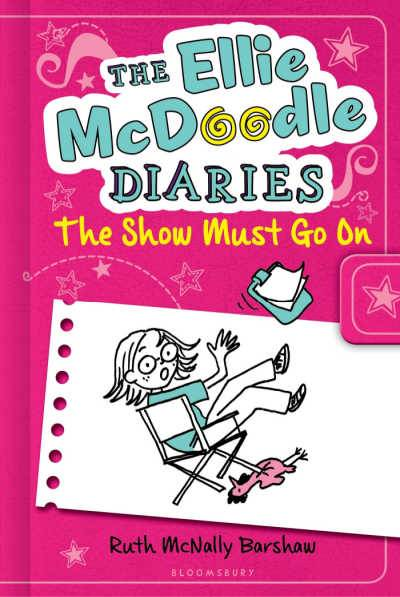 The Ellie McDoodle Diaries book The Show Must Go On pink background with girl falling out of director's chair
