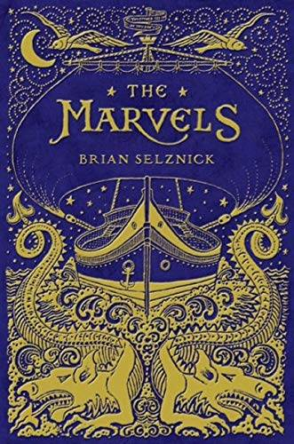 The Marvels bookcover, dark blue background with intricate gold design