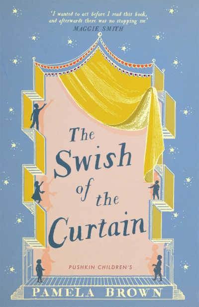 The Swish of the Curtain book cover displaying a yellow theater curtain on a light blue background