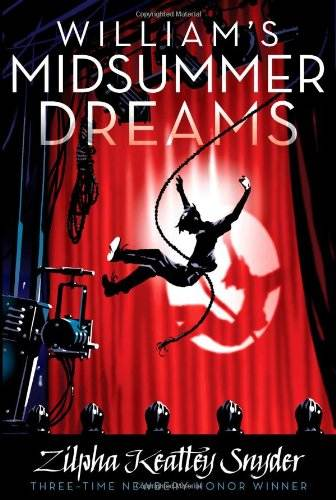 William's Midsummer Dreams book cover, boy swinging from light cord across red curtain of stage