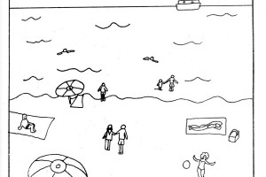 Beach coloring page, free printable by a published illustrator.