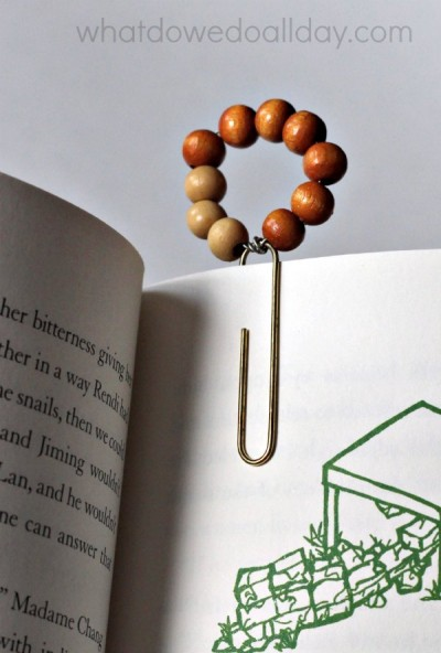 Adorable wood beaded bookmark!