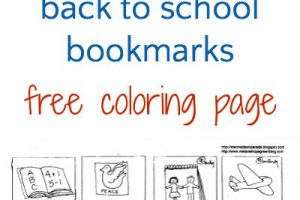 Back to school bookmarks coloring page. Free printable for kids.