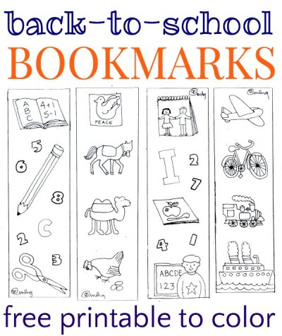 School bookmarks to color. Free printable.