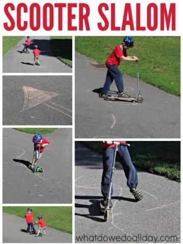 Gross motor activity for kids. Make a scooter slalom.
