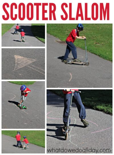 Gross motor activity for kids. Make a scooter slalom.