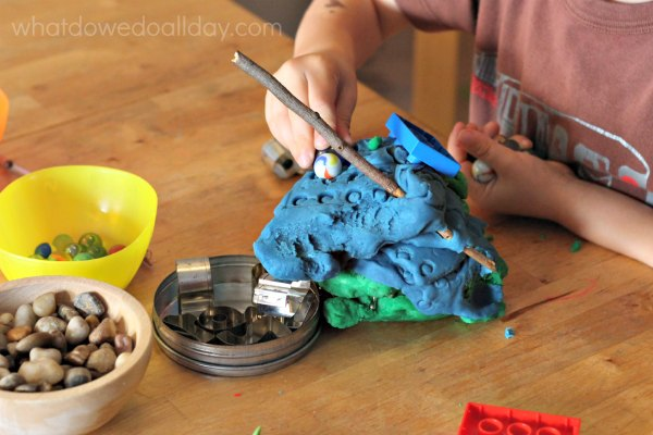 Play dough activities and objects to help fine motor skills.
