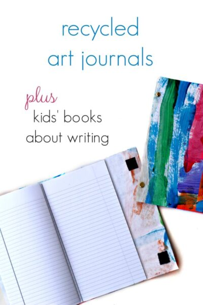 Recycled journals made from children's art work. Plus, a list of books about writing to inspire kids.