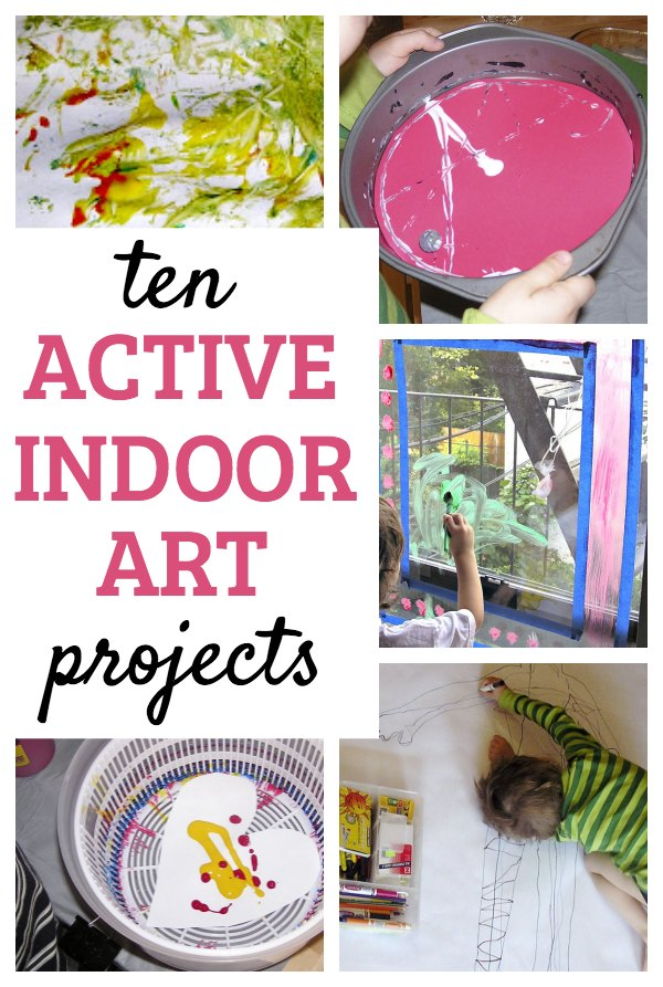 Try these active art projects to keep creative kids moving and grooving. Great ideas for kids who may not be arts-oriented but like to move! Good indoor activity idea and boredom busters for bad weather days.