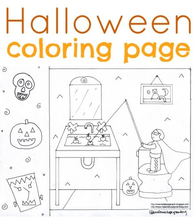 halloween coloring page fishing 400x457