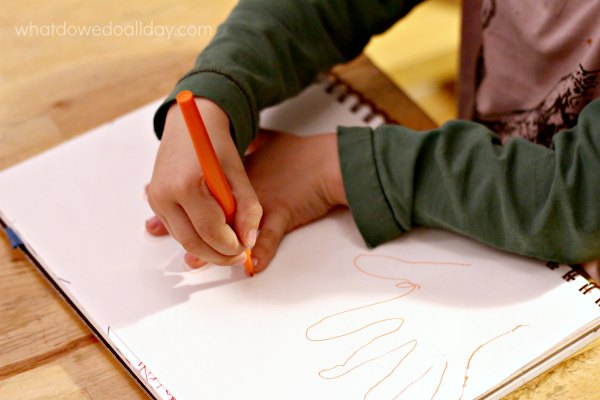Easy art activity for kids. Hand tracing.