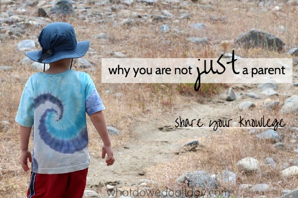 Share your wisdom. You are not just a parent.