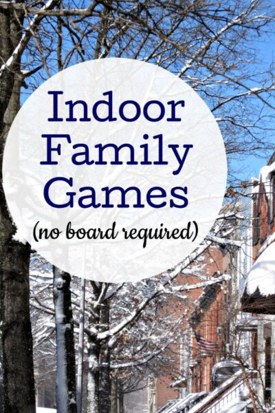 Fun indoor family games to play when you are stuck inside at home.