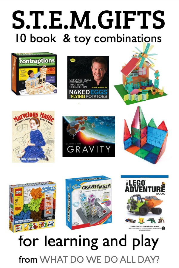 STEM gifts for kids. Book and toy combinations for science, math, engineering and tech.
