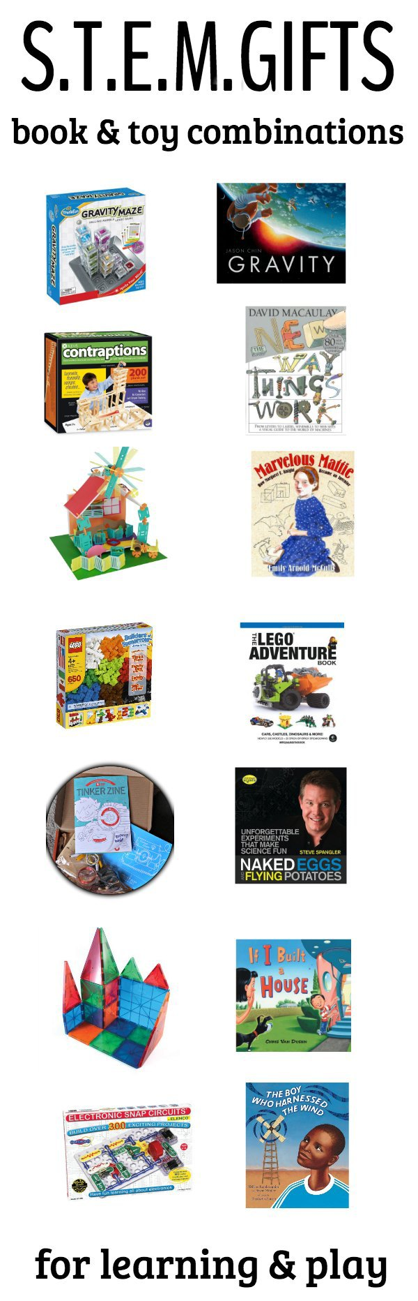 Great STEM toys and STEM children's books that make the perfect combo. These STEM gifts for kids will promote imagination and inspire math, science, engineering and technology learning through play!  #STEM #STEAM