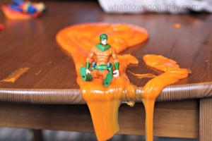 Superhero slime play for kids indoor activity