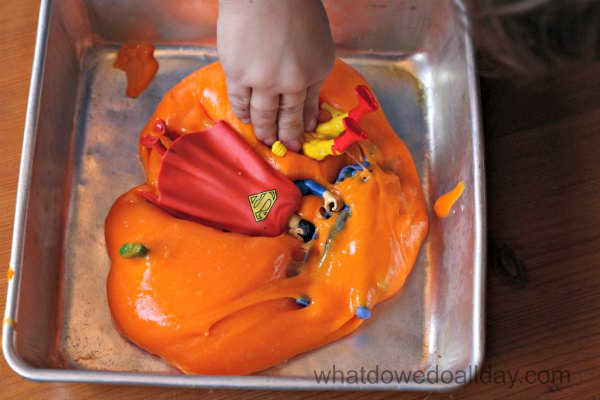 Superhero slime in a pan.