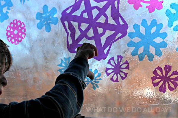 How to make snowflake window art for kids