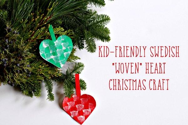 Swedish woven hearts Christmas craft.