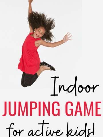 Active child playing a jumping game