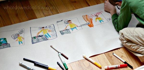 Make a giant comic strip.