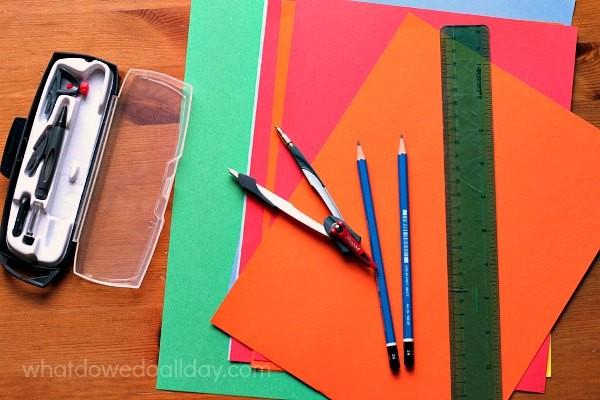 Supplies for Fibonacci art project.