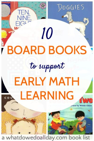 Math books for babies and toddlers that support early learning of patterns and numbers.