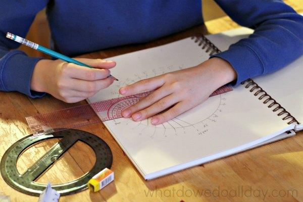 Drawing parabolic curves in a circle.