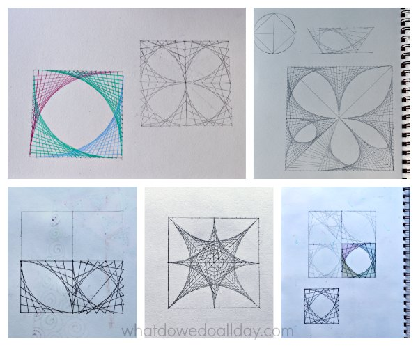 Printables Line Designs Worksheet super cool math art with parabolic curves line designs in project for kids