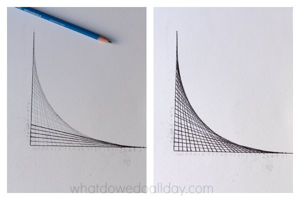 Simple parabolic curves math art project.