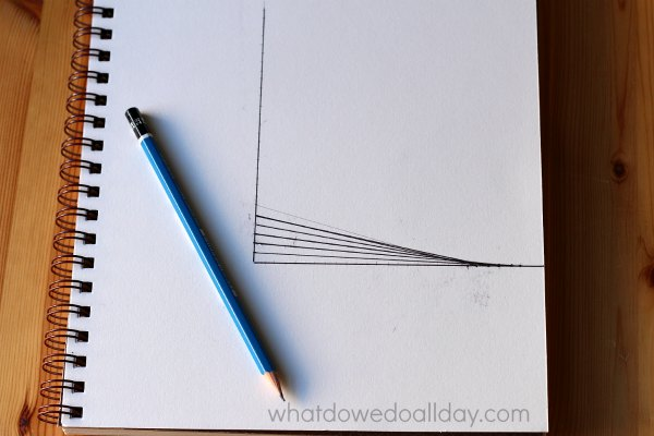 Drawing parabolic curves. A math art project.
