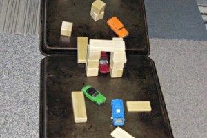 DIY toy car ramp with building block obstacle course