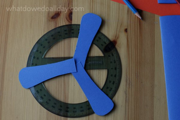 Use a protractor to measure angles for indoor boomerang